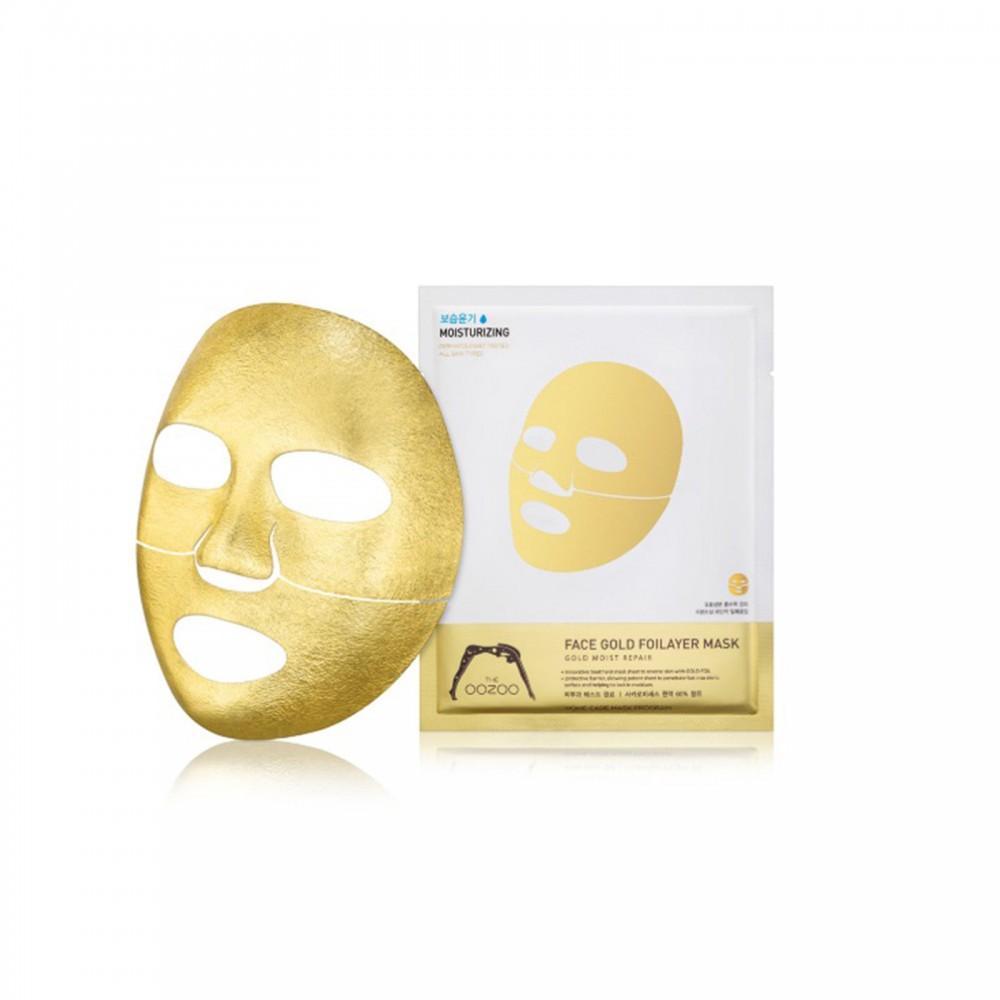 Золотая экспресс-маска с термоэффектом THE OOZOO Face gold foilayer mask