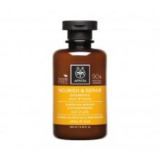 Восстанавливающий питающий шампунь с оливковым маслом и медом Apivita Nourish and Repair Shampoo