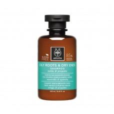 Шампунь для жирных корней и сухих секущихся кончиков с прополисом и крапивой Apivita Shampoo for Oily Roots and Dry Ends