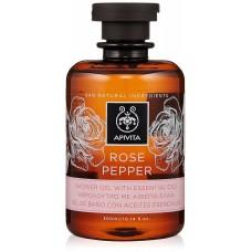 Гель для душа с эфирными маслами Роза и Перец Apivita Shower Gel with Essential Oils Rose Pepper