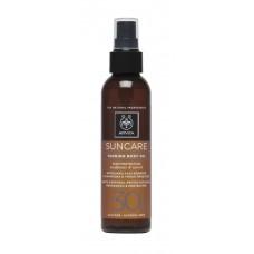 Масло-спрей для загара с подсолнечником и морковью Apivita Suncare Sunbody Tanning Body Oil SPF30